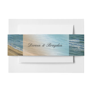 Seascape Blue and Brown Ocean Beach Wedding Invitation Belly Band