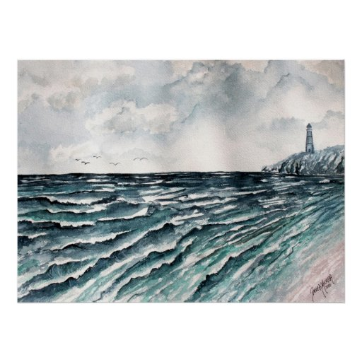 seascape lighthouse art print