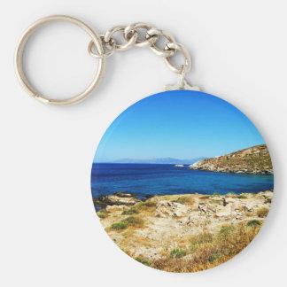 Seascape - Mykonos, Greece Basic Round Button Key Ring