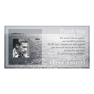 Seascape Photo frame Sympathy Thank You Photo Card Template