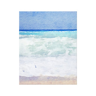 Seascape Waves on the Beach Watercolor Canvas Print