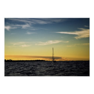 Seascape with a yacht at sunset poster