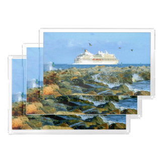Seascape with Cruise Ship Acrylic Tray