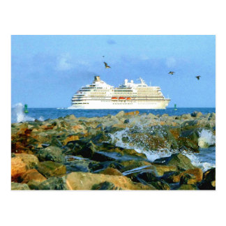 Seascape with Cruise Ship Custom Postcard