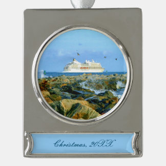 Seascape with Cruise Ship Dated Silver Plated Banner Ornament