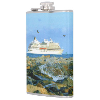 Seascape with Cruise Ship Hip Flask