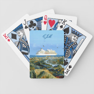 Seascape with Cruise Ship Monogrammed Bicycle Playing Cards