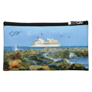 Seascape with Cruise Ship Monogrammed Cosmetic Bags