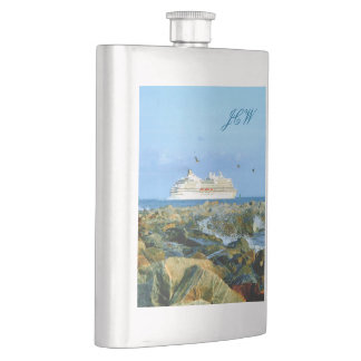 Seascape with Cruise Ship Monogrammed Hip Flask
