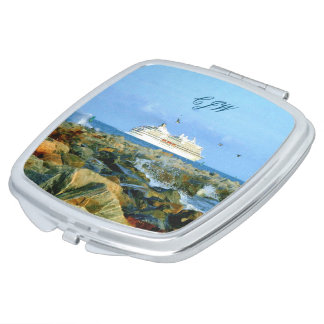 Seascape with Cruise Ship Monogrammed Mirror For Makeup