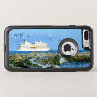 Seascape with Cruise Ship Monogrammed OtterBox Commuter iPhone 8 Plus/7 Plus Case