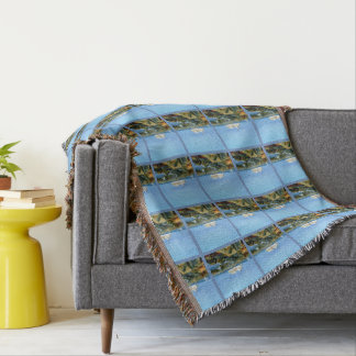 Seascape with Cruise Ship Patterned Throw Blanket