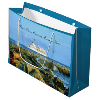 Seascape with Cruise Ship Personalized Large Gift Bag