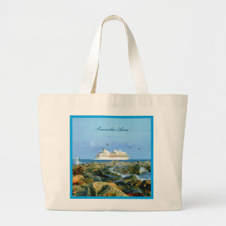 Seascape with Cruise Ship Personalized Large Tote Bag
