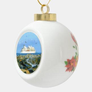 Seascape with Luxury Cruise Ship Ceramic Ball Decoration