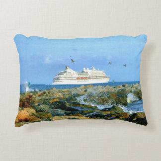 Seascape with Luxury Cruise Ship Decorative Cushion