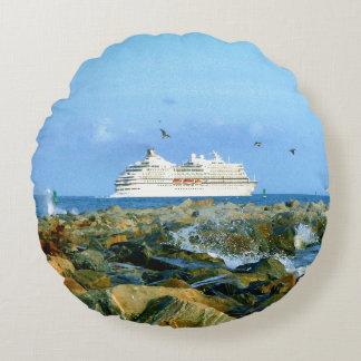 Seascape with Luxury Cruise Ship Round Cushion