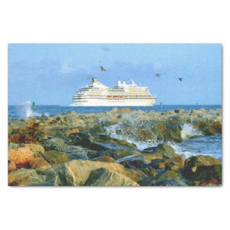 Seascape with Luxury Cruise Ship Tissue Paper