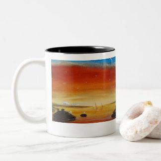 Seascapes Mug with sunset Mt Baker Seascape.