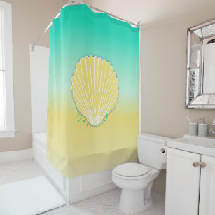 Seashell And Beach Color Ombre Shower Curtain