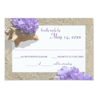 Seashell and Purple Hydrangea in Sand RSVP Card