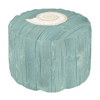 Seashell Beach Aqua Wood Pouf Seat