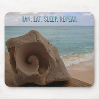 Seashell Beach Vacation Tropical | Tan Eat Sleep Mouse Pad