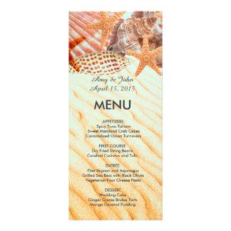 Seashell beach wedding menu seashell5 personalized rack card