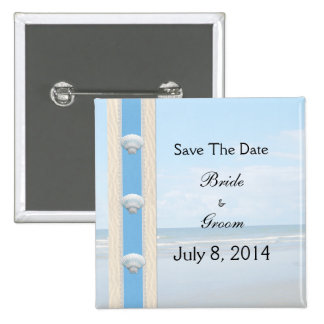 Seashell Beach Wedding Save The Date 15 Cm Square Badge