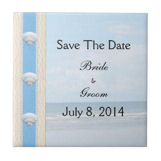 Seashell Beach Wedding Save The Date Small Square Tile