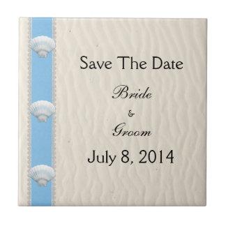 Seashell Beach Wedding Save The Date Tiles