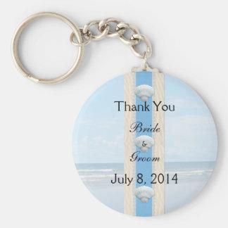 Seashell Beach Wedding Thank You Basic Round Button Key Ring