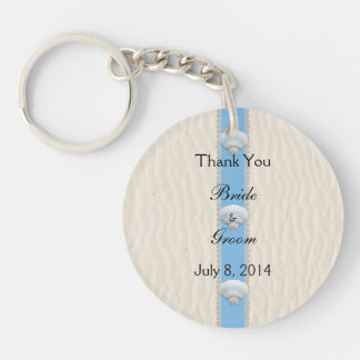 Seashell Beach Wedding Thank You Double-Sided Round Acrylic Key Ring