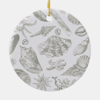 Seashell Chic Pattern Art Print Beach Vintage Ceramic Ornament