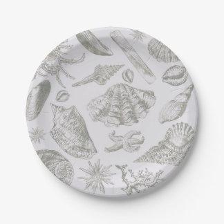 Seashell Chic Pattern Art Print Beach Vintage Paper Plate