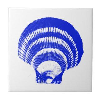 Seashell - cobalt blue and white ceramic tile
