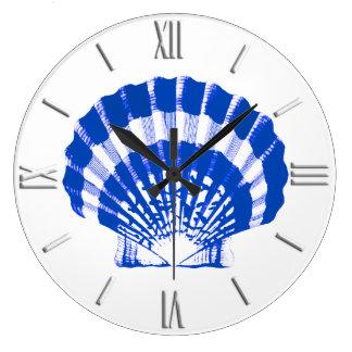 Seashell - cobalt blue and white wall clocks