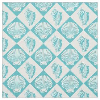 Seashell Diamond Nautical Beach Blue Fabric