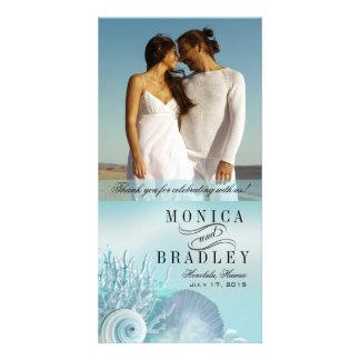 Seashell Dreams Beach Wedding Thank You aqua Personalised Photo Card