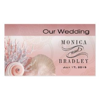 Seashell Dreams Beach Wedding Website pink Business Card Templates