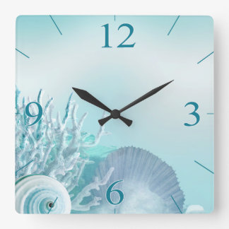 Seashell Dreams Tropical Beach | aqua Square Wall Clock
