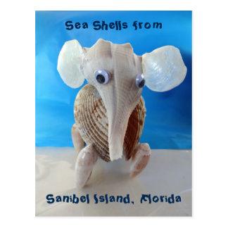 Seashell Elephant Craft Animal Sanibel Island FL Postcard
