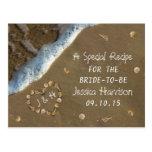 Seashell Heart Beach Bridal Shower Recipe Cards Postcard