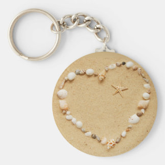 Seashell Heart with Starfish Basic Round Button Key Ring