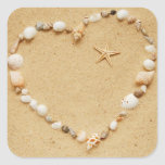 Seashell Heart with Starfish Square Stickers