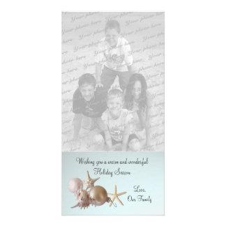 Seashell Holiday Greeting Custom Photo Card