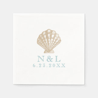 Seashell Nautical Beach Wedding   Bridal Shower Disposable Napkin