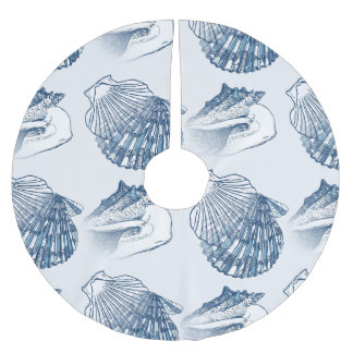 Seashell Nautical Pattern Navy Blue Brushed Polyester Tree Skirt