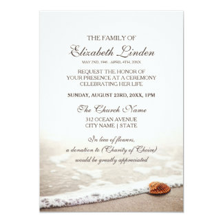 Seashell on the Beach Memorial Service Card
