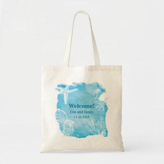 Seashell on Watercolor Canvas Bag